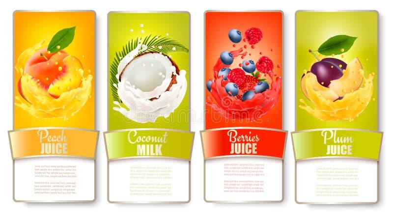 O grupo de etiquetas do fruto no suco espirra ilustração do vetor