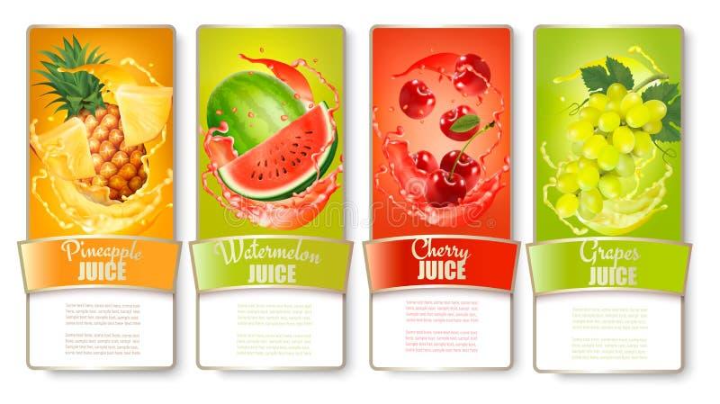 O grupo de etiquetas do fruto no suco espirra ilustração stock