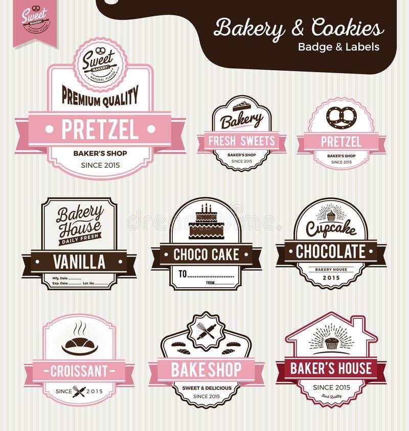 O grupo de etiquetas doces da padaria e do pão projeta ilustração do vetor