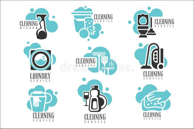 O grupo de etiquetas de limpeza do aluguer do serviço da casa e do escritório, Logo Templates For Professional Cleaners ajuda as  ilustração stock