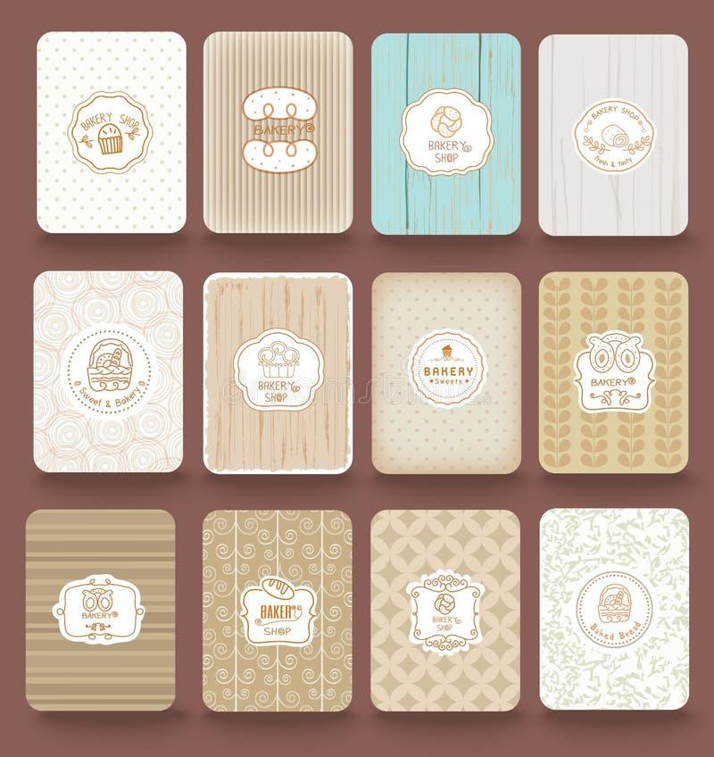 O grupo de etiquetas retros da padaria, as fitas e os cartões para o vintage projetam ilustração do vetor