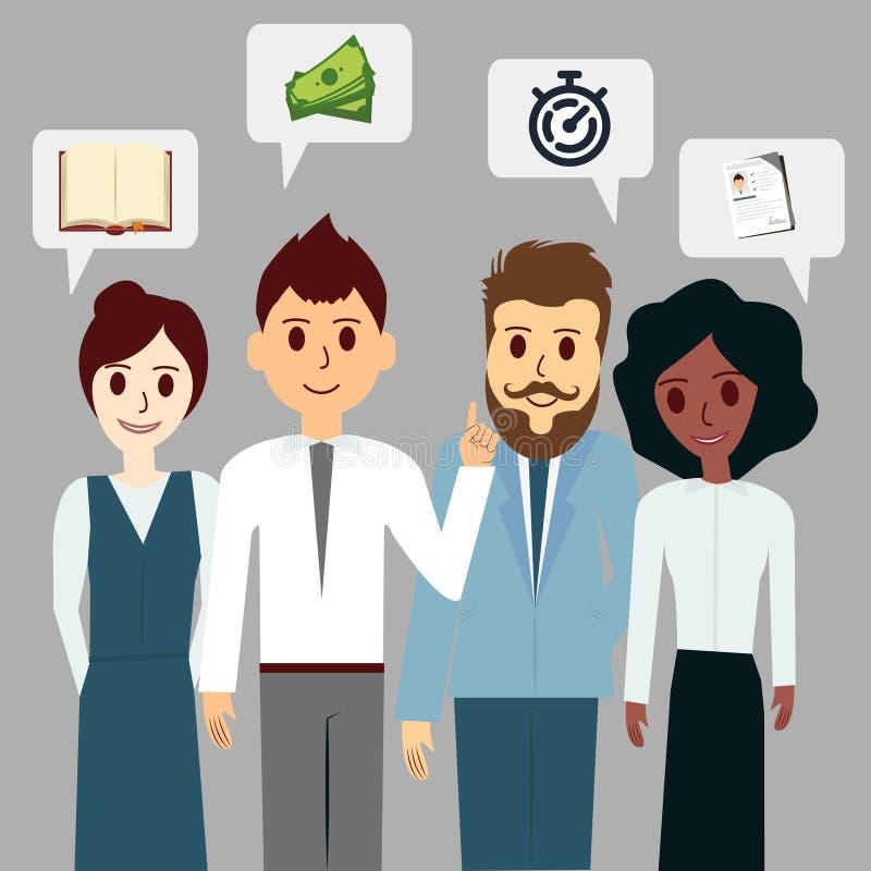 O grupo de executivos conversa a nuvem de uma comunicação, trabalhos de equipa, discutindo ilustração stock