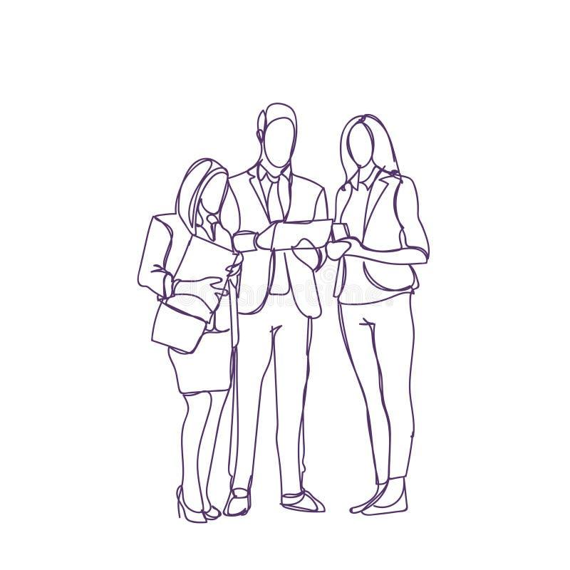 O grupo de executivos do esboço da silhueta discute empresários que do original se encontrar fala o conceito da discussão ilustração stock