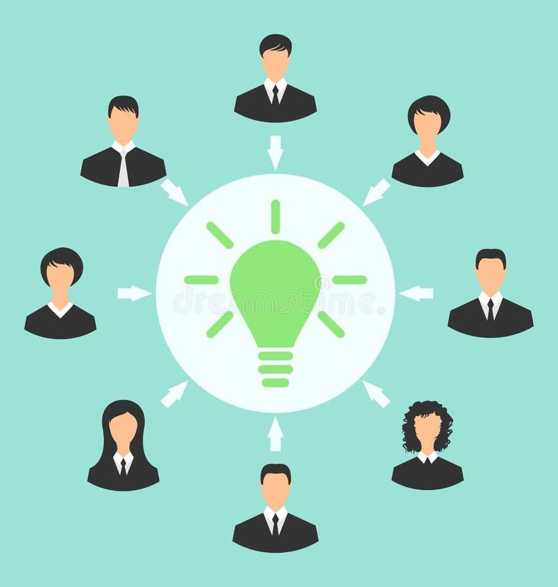 O grupo de executivos recolhe junto, processo de geração ilustração royalty free