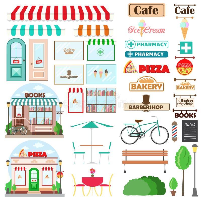 O grupo de fachada da loja e de elementos exteriores com portas, mostras, emblemas dos quadros indicadores, banco, planta produto ilustração do vetor