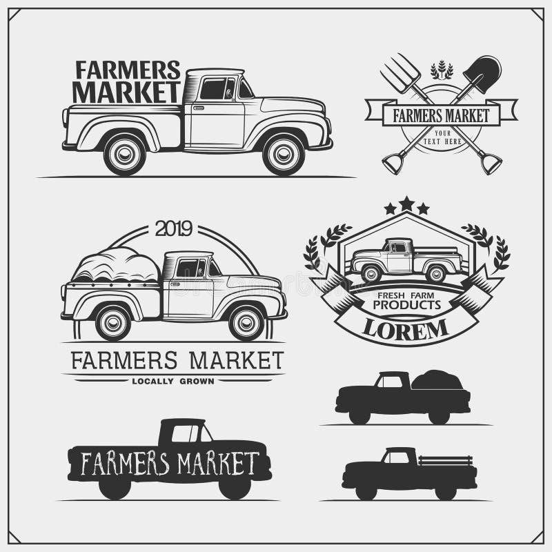 O grupo de fazendeiros introduz no mercado emblemas, logotipos e etiquetas com recolhimento Ilustração do vetor ilustração royalty free