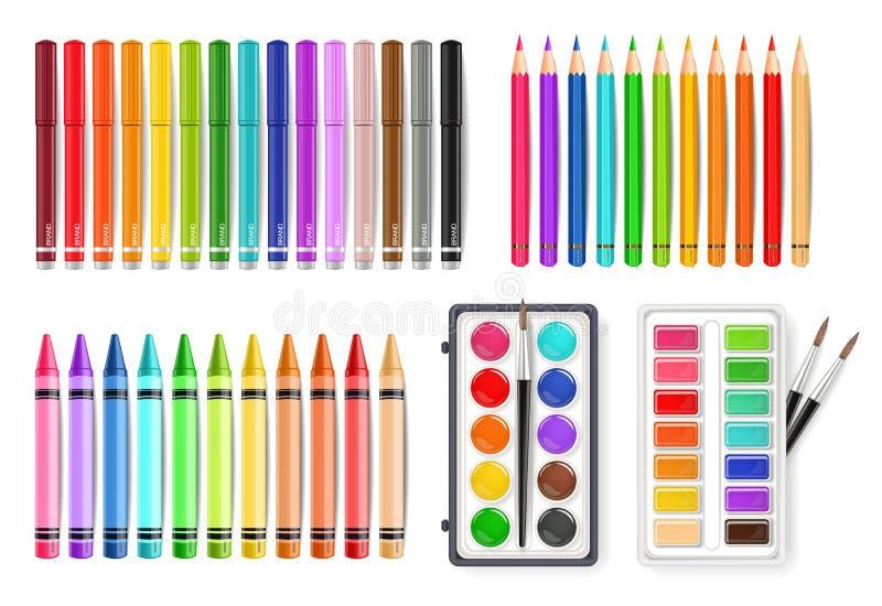 O grupo de ferramentas colorido da pena, do marcador e da paleta da aquarela Vector o realistics ilustração royalty free