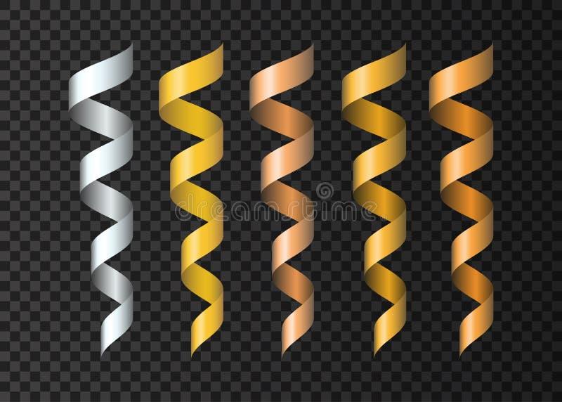 O grupo de fitas douradas, prateadas, de cobre realísticas serpenteia ilustração do vetor