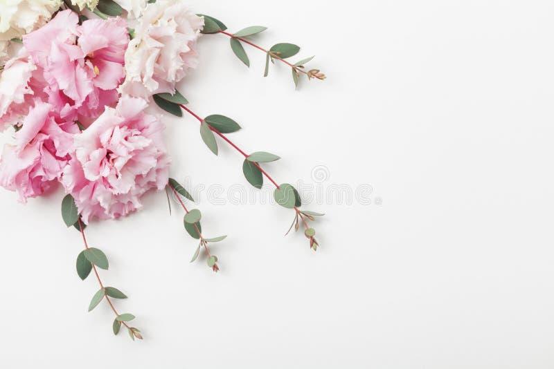 O grupo de flores e do eucalipto bonitos sae na opinião de tampo da mesa branca estilo liso da configuração fotos de stock royalty free