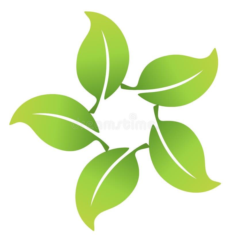 O grupo de folhas conectou junto o logotipo ilustração stock