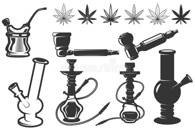 O grupo de folhas do cannabis, bongs, ícones dos cachimbos de água Cannabis, marijuana Projete elementos para o logotipo, etiquet ilustração stock