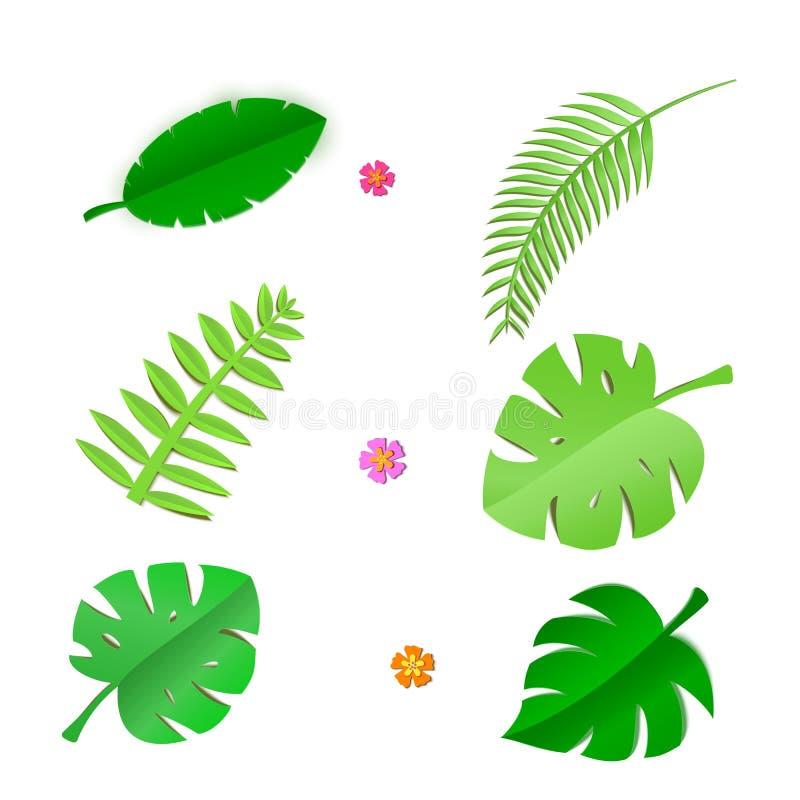 O grupo de folhas e de flores tropicais no papel trandy cortou o estilo Craft plantas da selva do verão no fundo branco para o pa ilustração do vetor