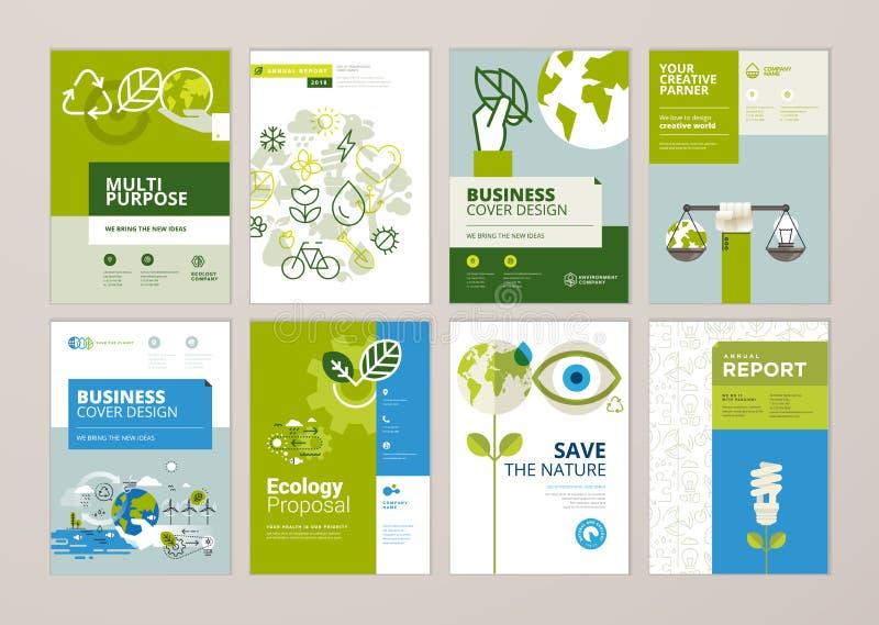 O grupo de folheto e a tampa do informe anual projetam moldes da natureza, ambiente, energia renovável, desenvolvimento sustentáv