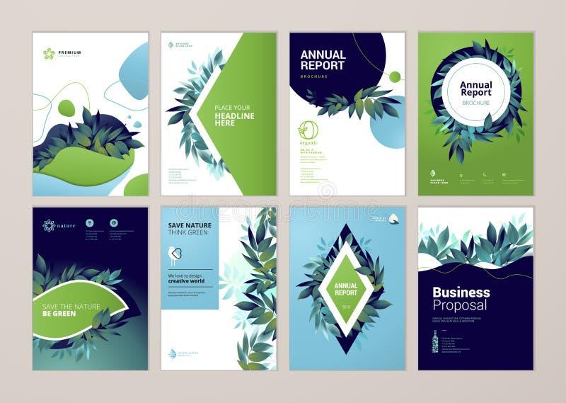 O grupo de folheto e a tampa do informe anual projetam moldes a propósito da natureza, do ambiente e dos produtos orgânicos ilustração stock