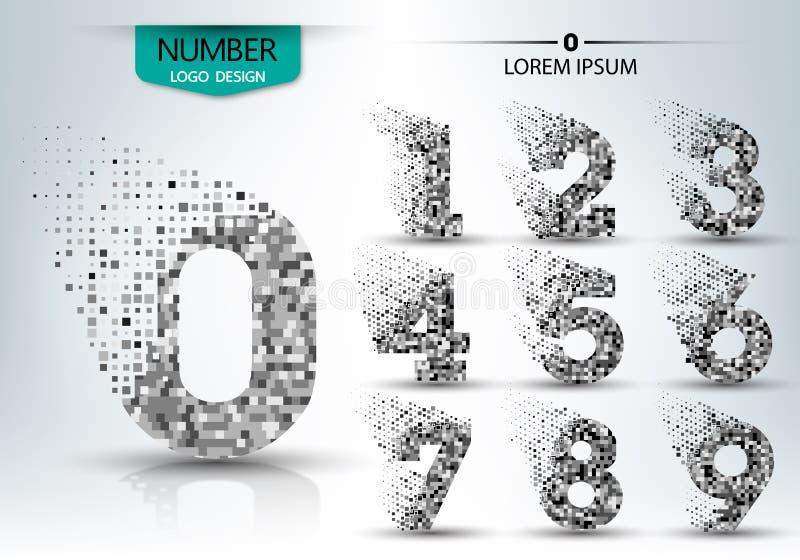 O grupo de forma do número do logotipo espalhou o projeto do vetor ilustração stock
