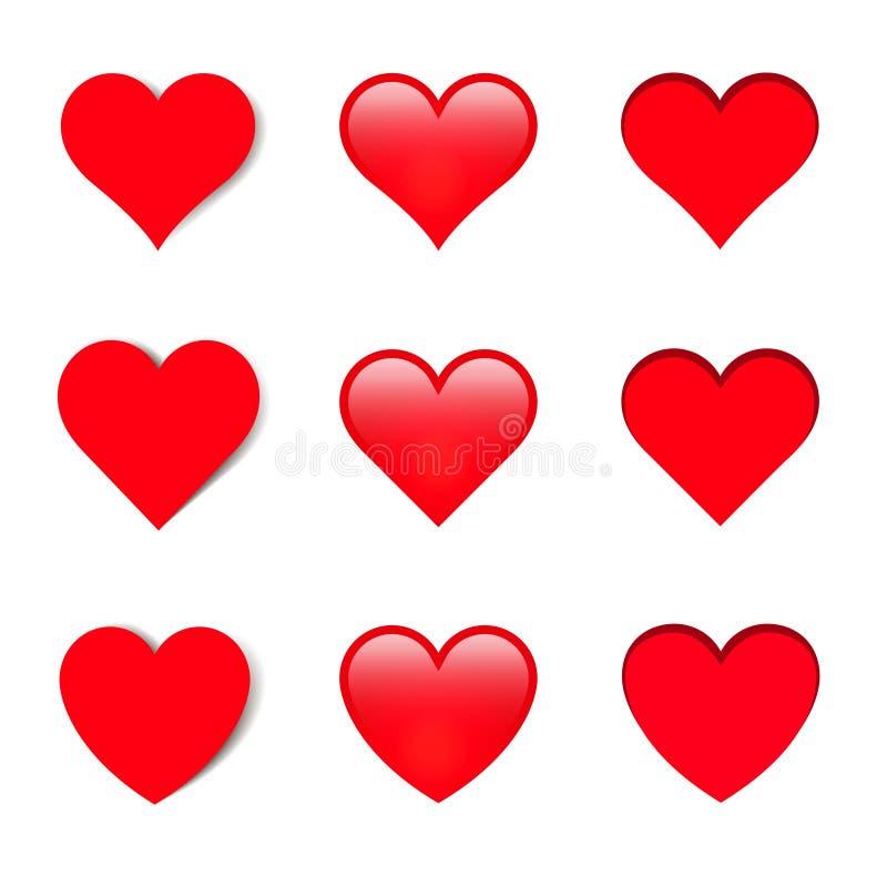 O grupo de formas diferentes vector corações com sombras ilustração royalty free