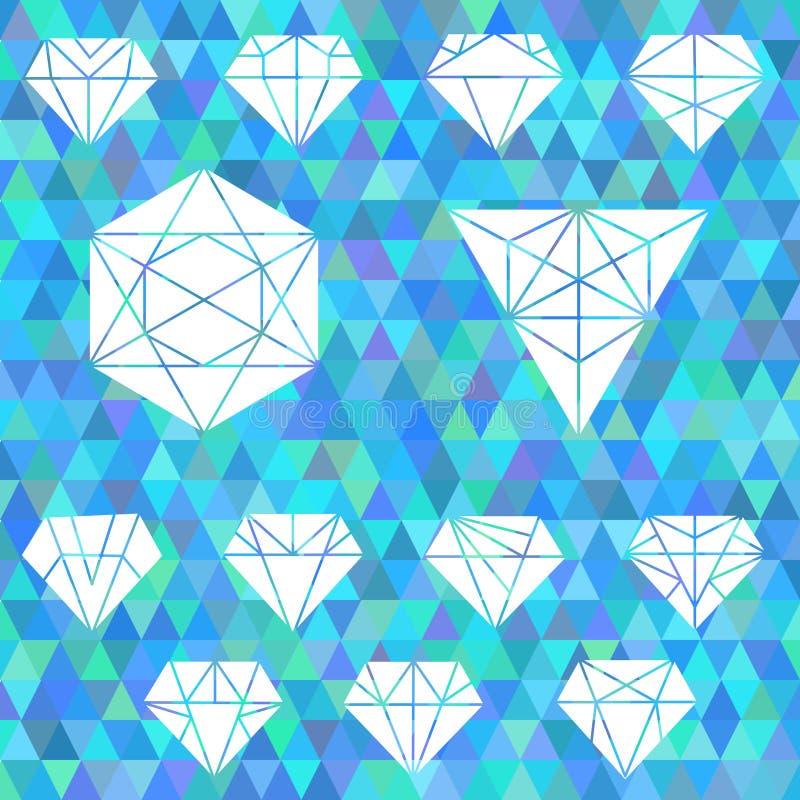 O grupo de formas geométricas lineares Hexágonos, triângulos, cristal ilustração royalty free