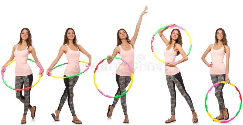 O grupo de fotos com a aro da mulher e do hula fotos de stock royalty free