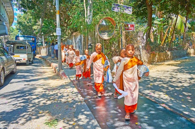 O grupo de freiras budistas do principiante, Yangon, Myanmar foto de stock