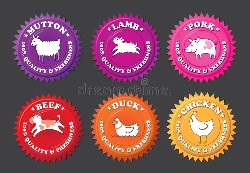 Etiquetas da carne com animais dos desenhos animados ilustração royalty free