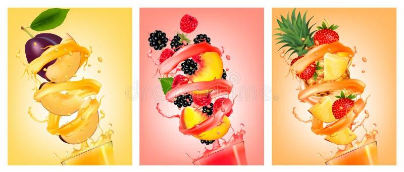 O grupo de fruto no suco espirra Pêssego, morango, amora-preta, p ilustração royalty free