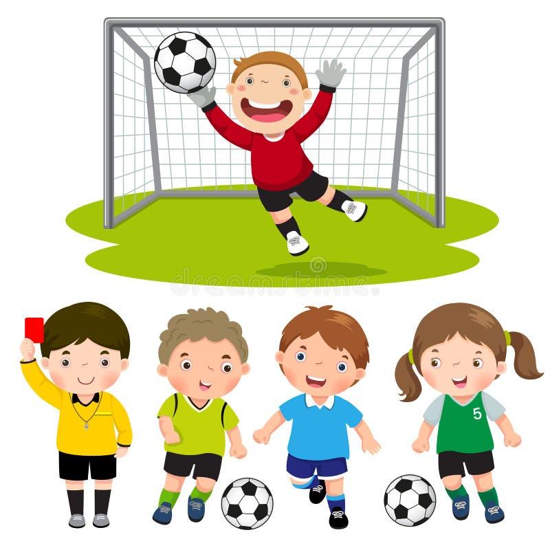 O grupo de futebol dos desenhos animados caçoa com pose diferente ilustração royalty free