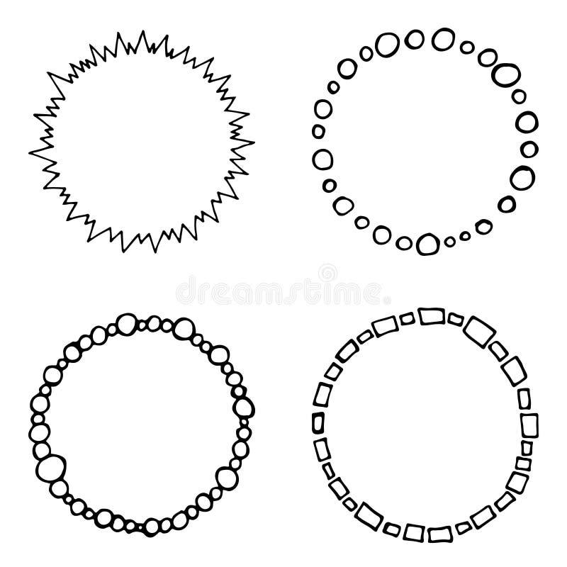 O grupo de garatuja, os quadros tirados mão do círculo do vetor, preto e branco, monochrome envolve-se para seu projeto ilustração stock