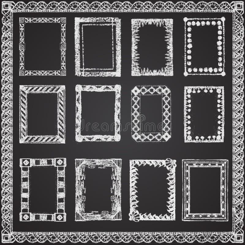 O grupo de giz pintou quadros em um quadro preto ilustração do vetor
