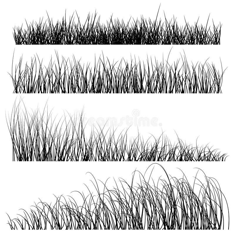 O grupo de grama do vetor mostra em silhueta fundos ilustração do vetor