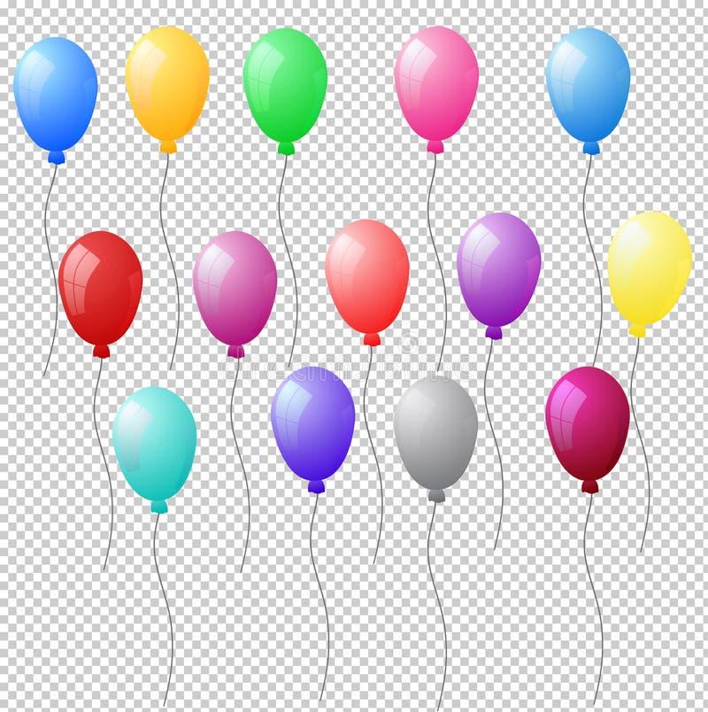 O grupo de hélio realístico colorido balloons no backgro transparente ilustração royalty free
