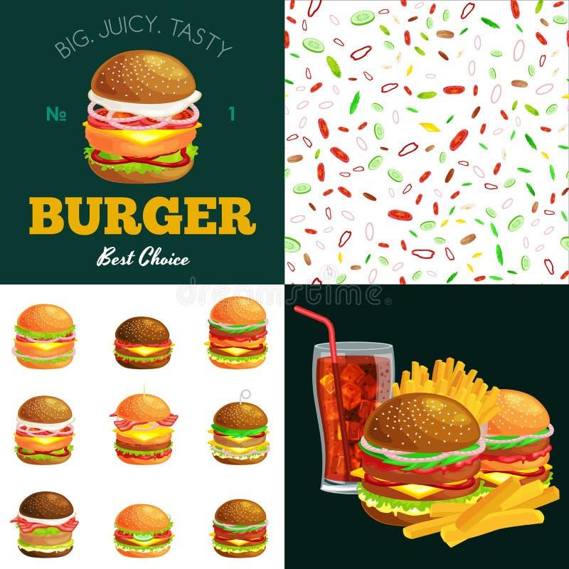 O grupo de hamburguer grelhou a carne e os legumes frescos vestidos com fastfood americano do Hamburger do petisco do bolo do mol ilustração stock
