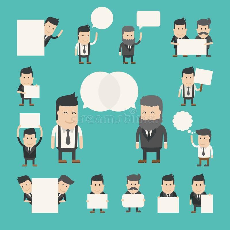O grupo de homem de negócios na conversação, discute, debate ilustração stock