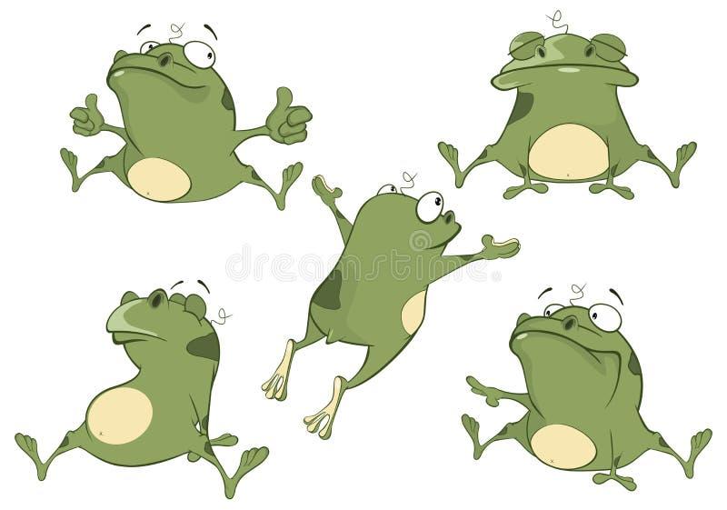 O grupo de ilustração dos desenhos animados rãs verdes bonitos para você projeta ilustração do vetor
