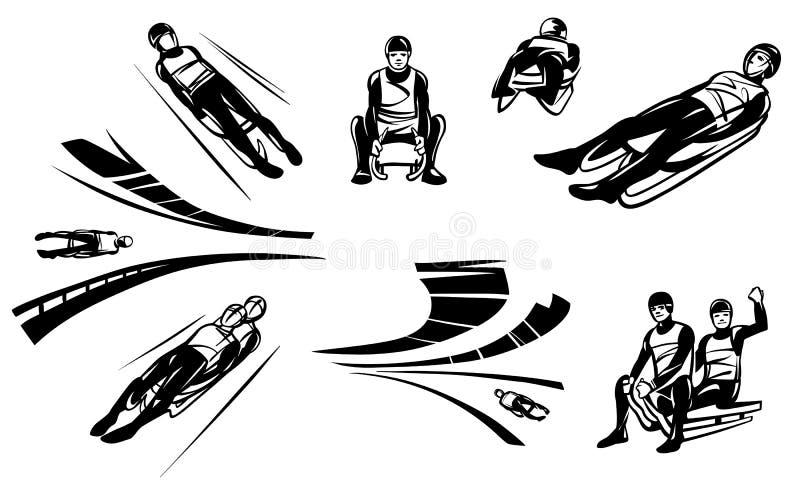 O grupo de ilustrações das competições em Luge sledging ilustração stock