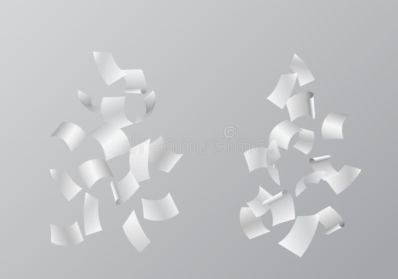 O grupo de ilustrações do vetor de folhas de papel brancas de queda, é ilustração stock