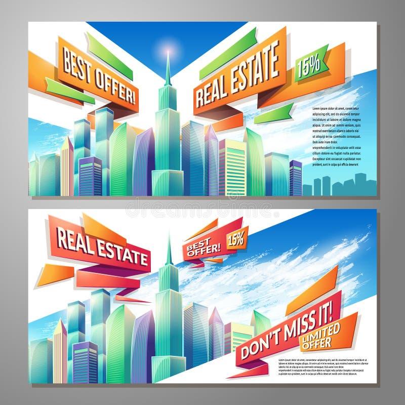 O grupo de ilustrações horizontais dos desenhos animados do vetor, bandeiras, fundos urbanos com cidade ajardina ilustração stock