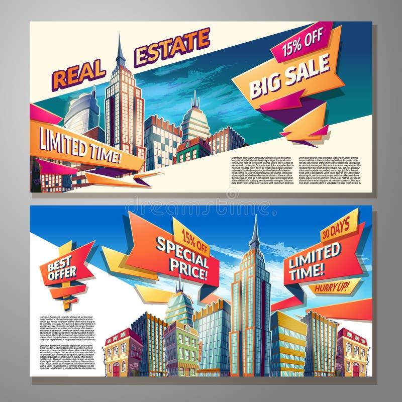 O grupo de ilustrações horizontais dos desenhos animados do vetor, bandeiras, fundos urbanos com cidade ajardina ilustração royalty free