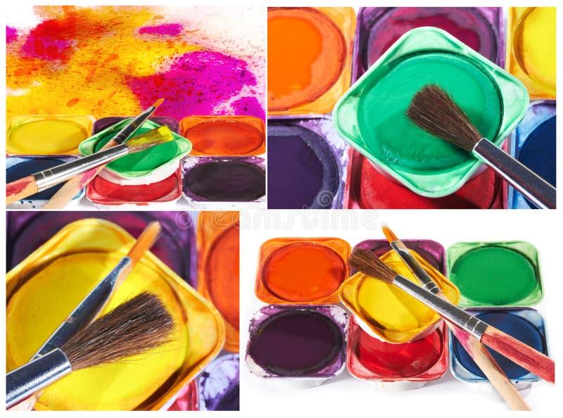 O grupo de imagens com aquarela pinta e escovas fotos de stock