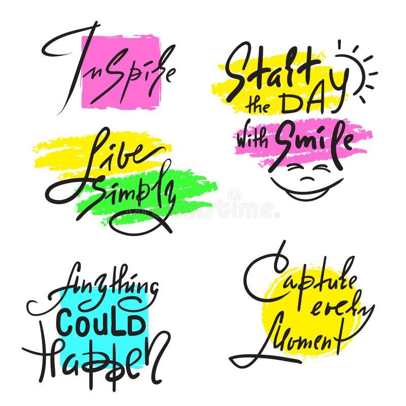 O grupo de inspira e citações inspiradores Sinais bonitos tirados mão da caligrafia Cópia para o cartaz inspirado ilustração royalty free