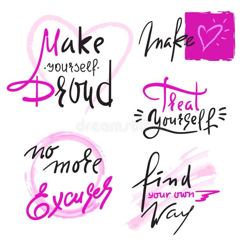 O grupo de inspira e citações inspiradores Sinais bonitos tirados mão da caligrafia Cópia para o cartaz inspirado ilustração do vetor