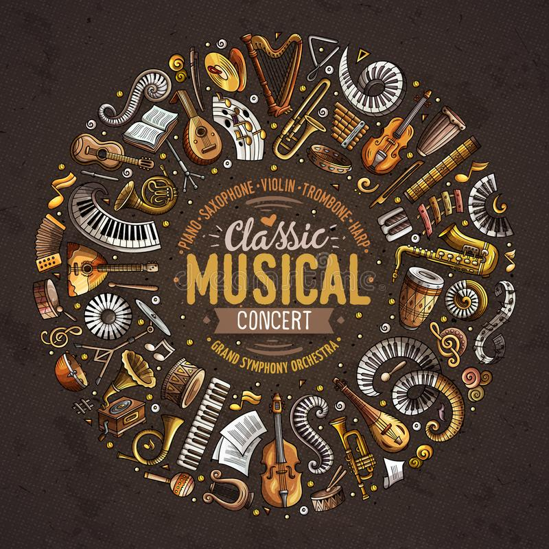 O grupo de instrumentos musicais e de objetos clássicos da garatuja dos desenhos animados do vetor recolheu em uma beira do círcu ilustração stock