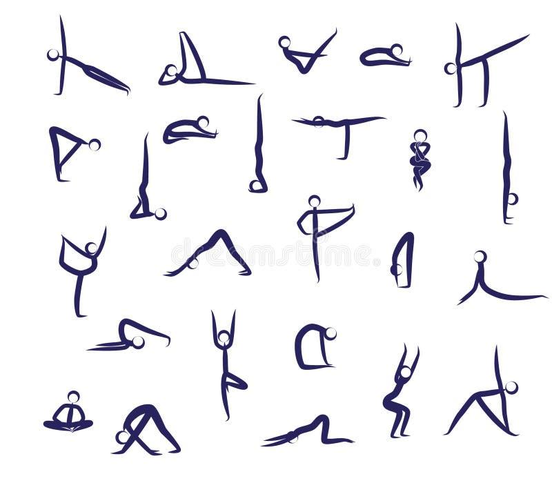 O grupo de ioga posiciona o azul ilustração do vetor