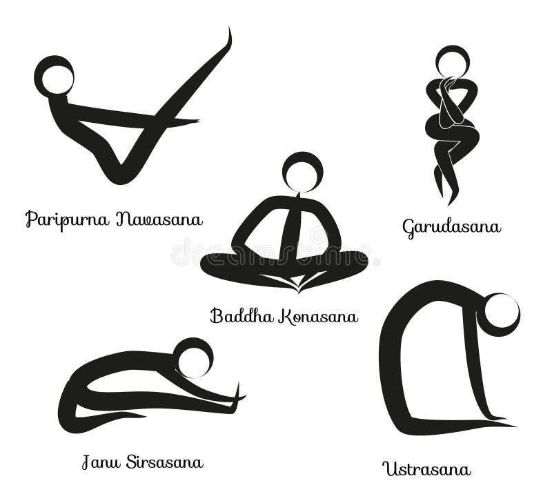 O grupo de ioga posiciona o preto ilustração do vetor