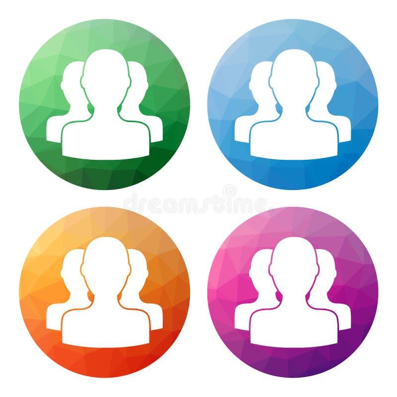 O grupo de 4 isolou baixos botões poligonais modernos - ícones - para assim ilustração royalty free