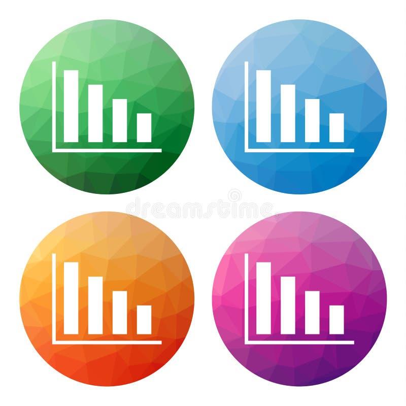 O grupo de 4 isolou baixos botões poligonais modernos - ícones - para o co ilustração royalty free