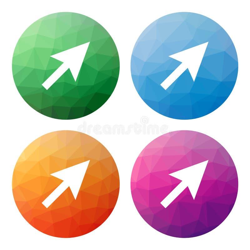 O grupo de 4 isolou baixos botões poligonais modernos - ícones - para o cu ilustração royalty free