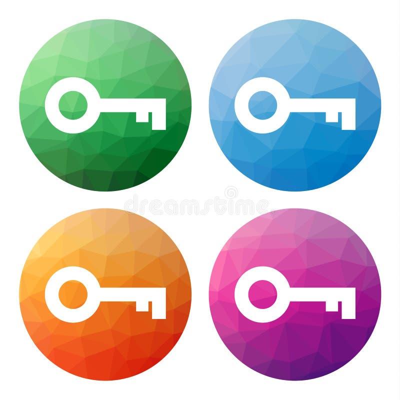 O grupo de 4 isolou baixos botões poligonais modernos - ícones - para o KE ilustração do vetor