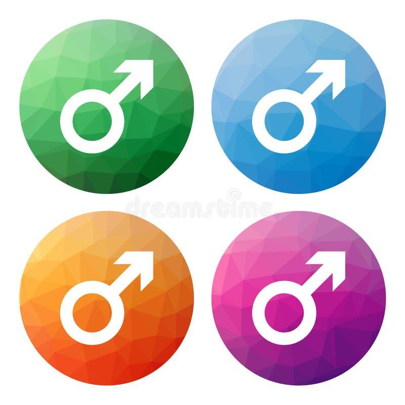 O grupo de 4 isolou baixos botões poligonais modernos - ícones - para o miliampère ilustração stock