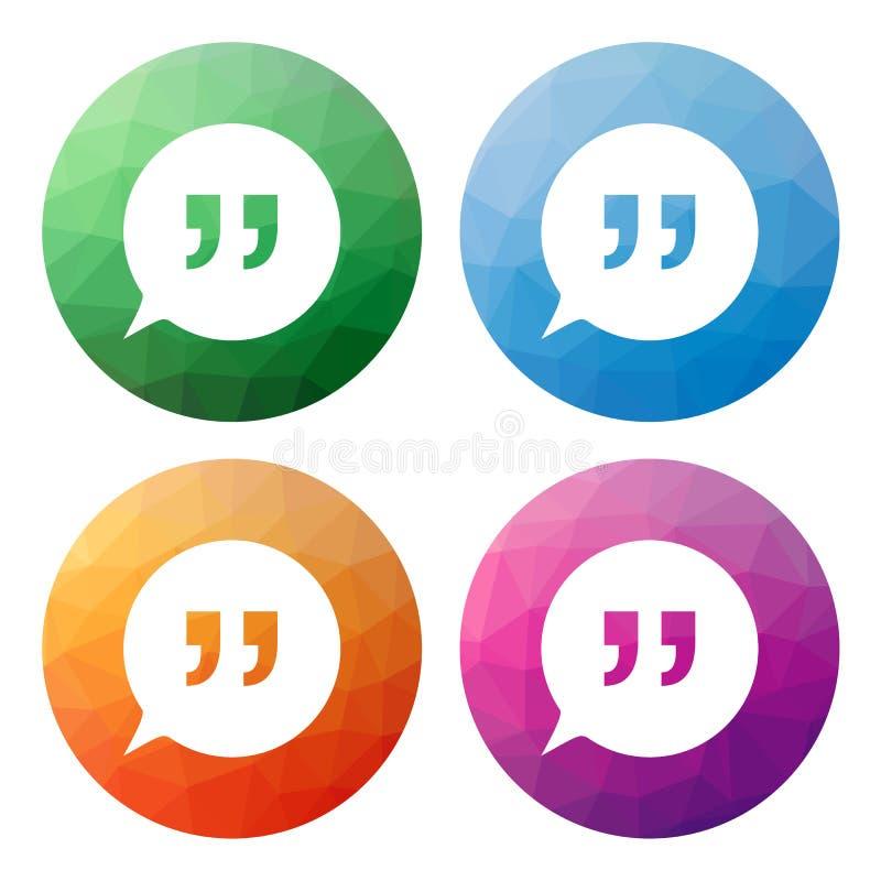 O grupo de 4 isolou baixos botões poligonais modernos - ícones - para o sp ilustração royalty free