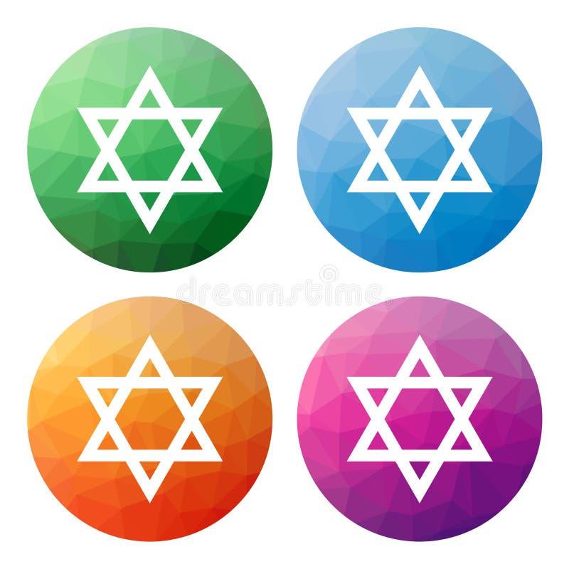 O grupo de 4 isolou baixos botões poligonais modernos - ícones - para o St ilustração do vetor